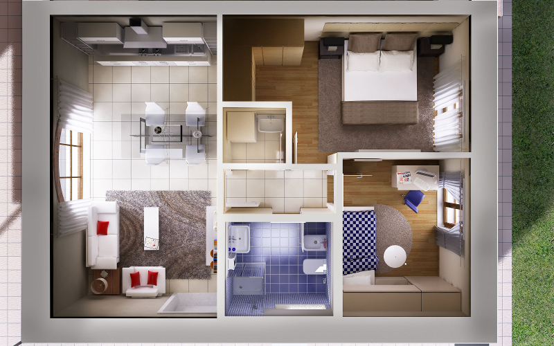 Planimetria 3d fotorealismo render planimetrie for Appartamenti con planimetrie